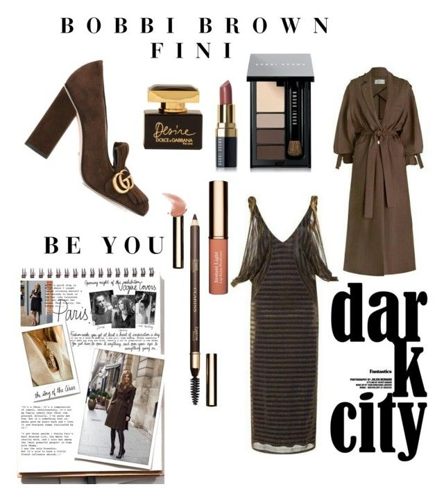 """""""Dark City"""" by fini-i ❤ liked on Polyvore featuring Clarins, Gucci, Bobbi Brown Cosmetics, Dolce&Gabbana and Garance Doré"""