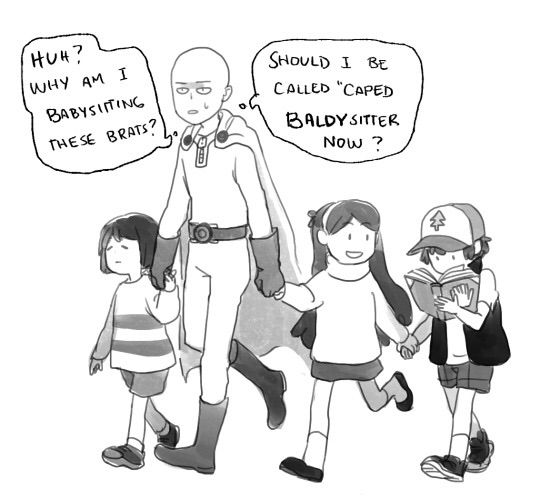 1/4 right saitama frisk and the pine twins in a zombie apoc would b the most adorable team ever o my gosh i want a fic on that