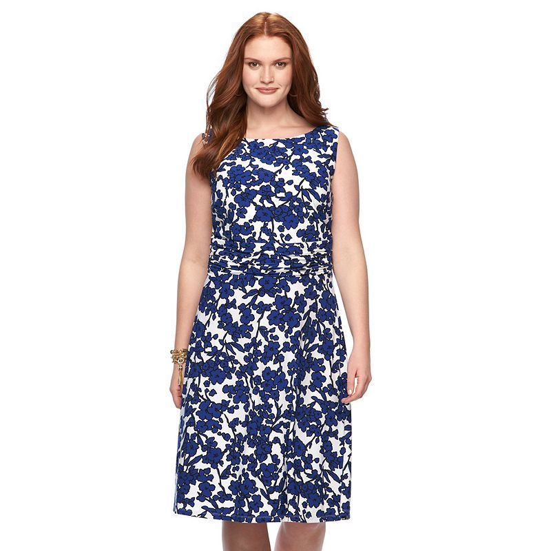 a316c08ceb6 Plus Size Chaps Printed Ruched Dress