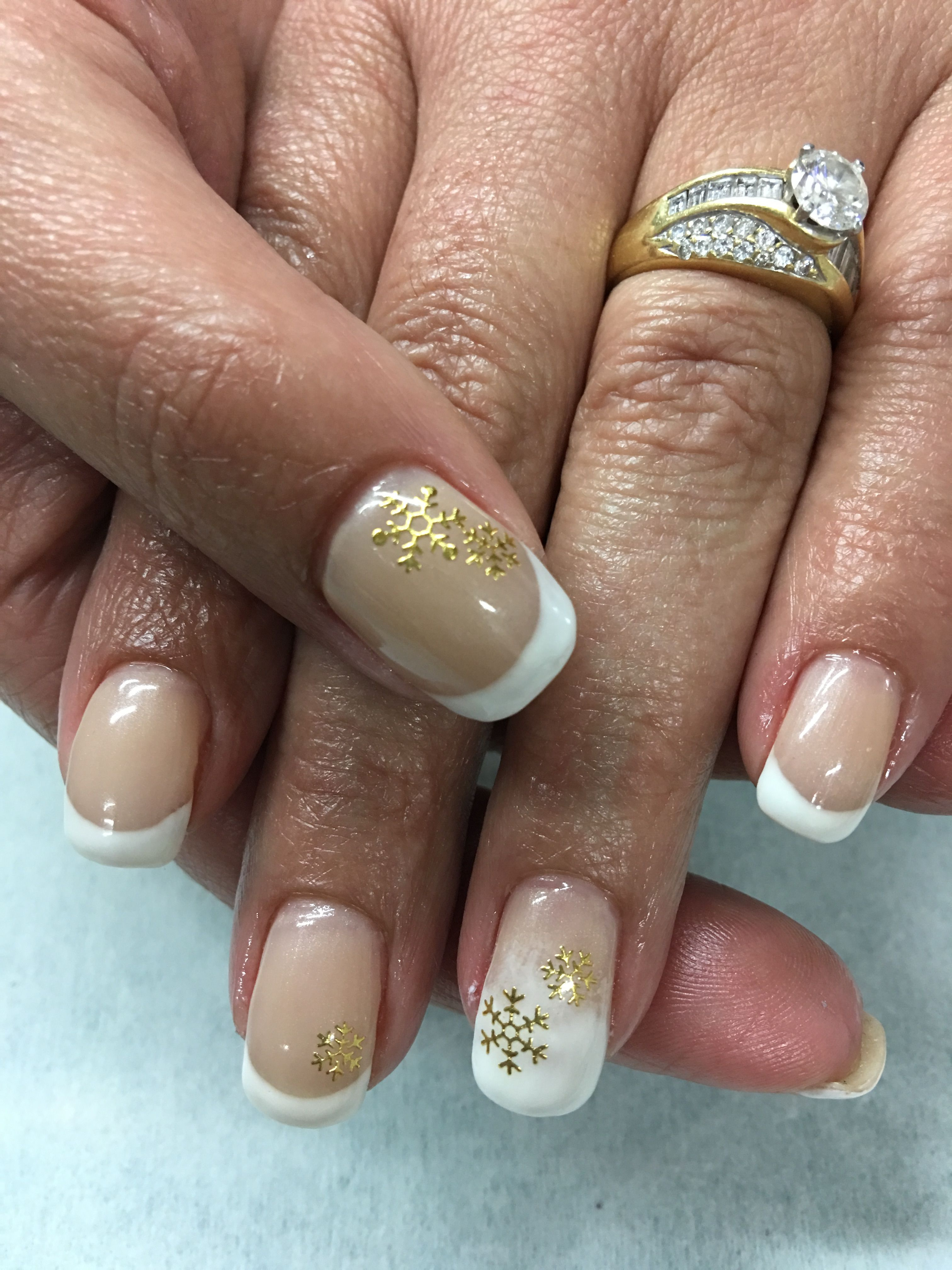 White French and ombre with Gold Snowflakes gel nails | Gel Nail ...