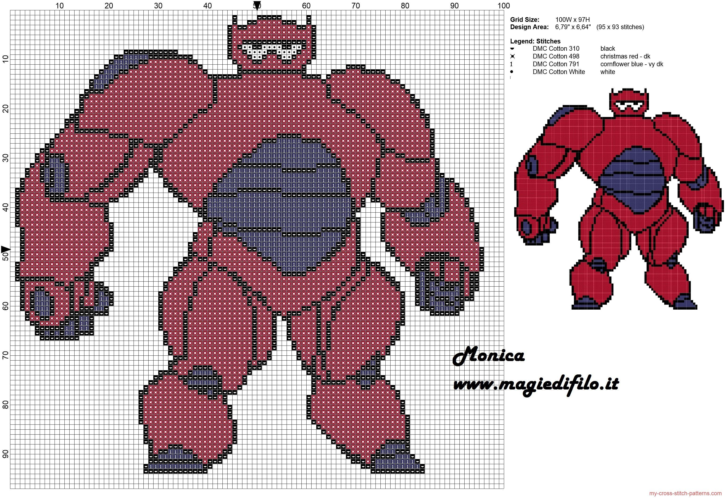 Super BayMax (Big Hero 6) cross stitch pattern