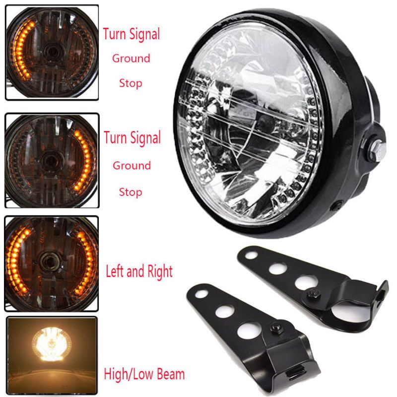 """Details about Universal 7"""" Motorcycle Headlight Amber LED"""