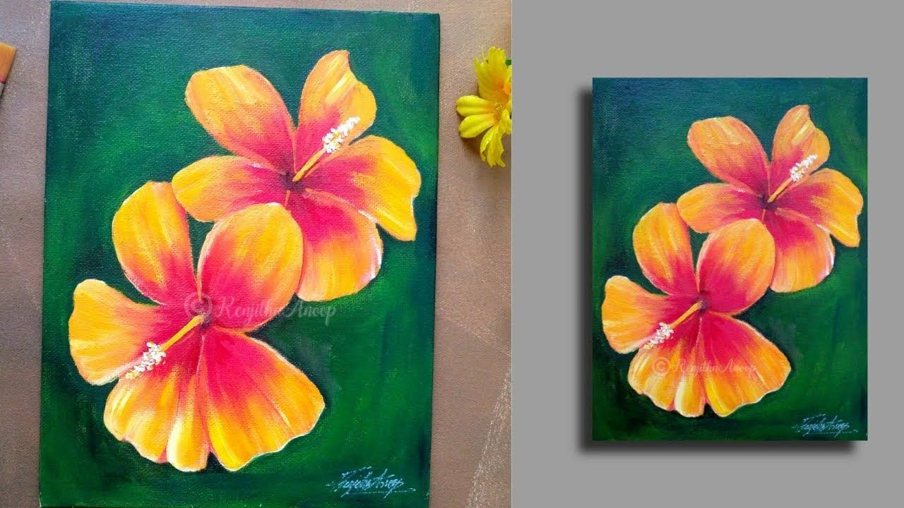 Step By Step Acrylic Painting Flowers On Canvas Hibiscus
