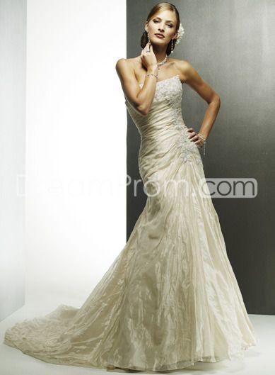 Embroidering Chiffon Drape Strapless Wedding Dresses A Line