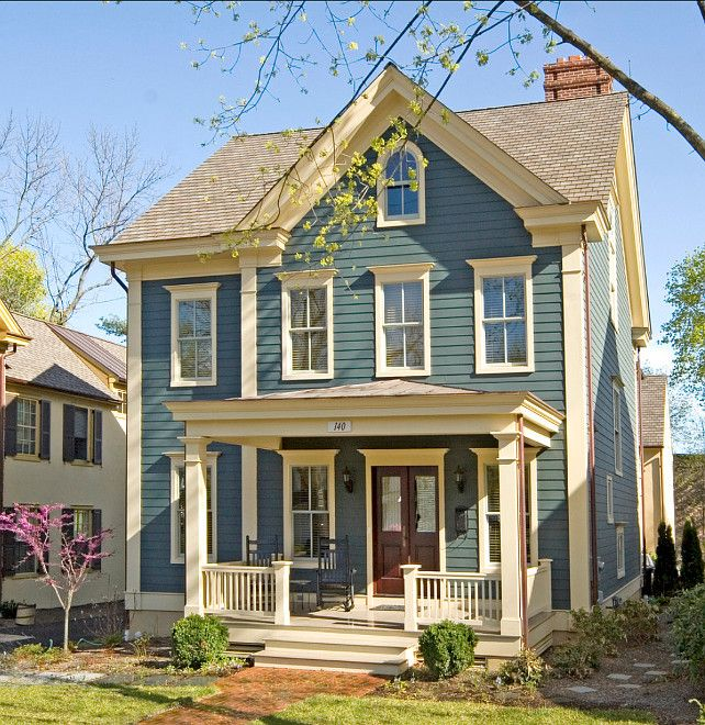 Exterior Paint Schemes And Consider Your Surroundings: Blue Paint And Cream Trim. Classic Design Interior Design