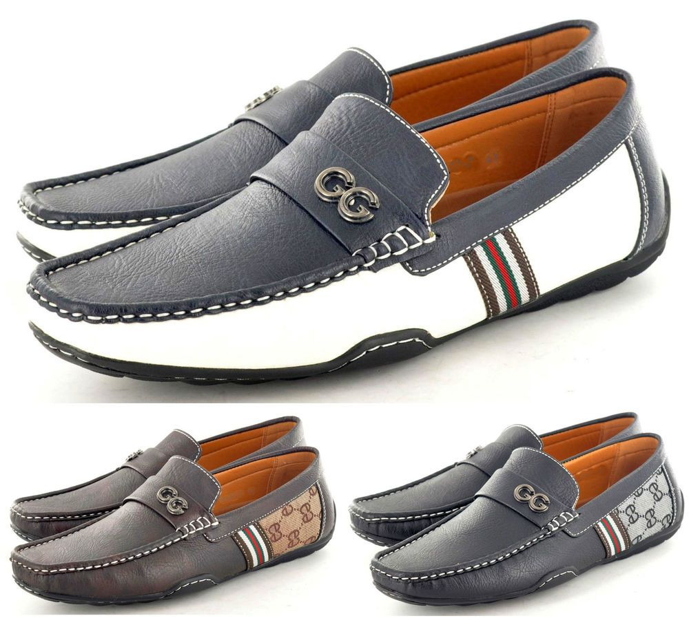 Boy's Men's Stripe Penny Loafers Casual Moccasins