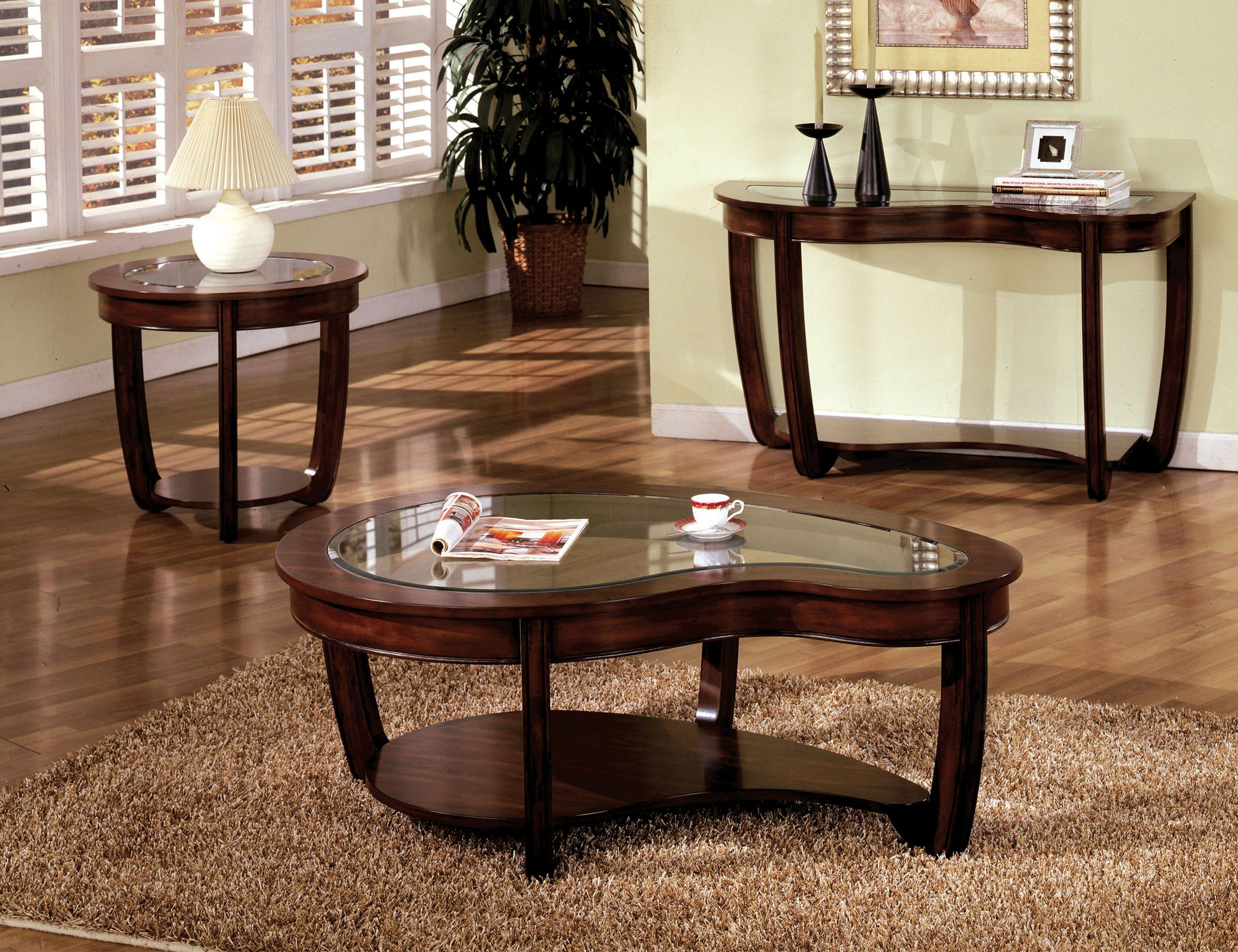 Furniture Of America Crystal Falls 3 Pcs Dark Cherry Coffee Table Set