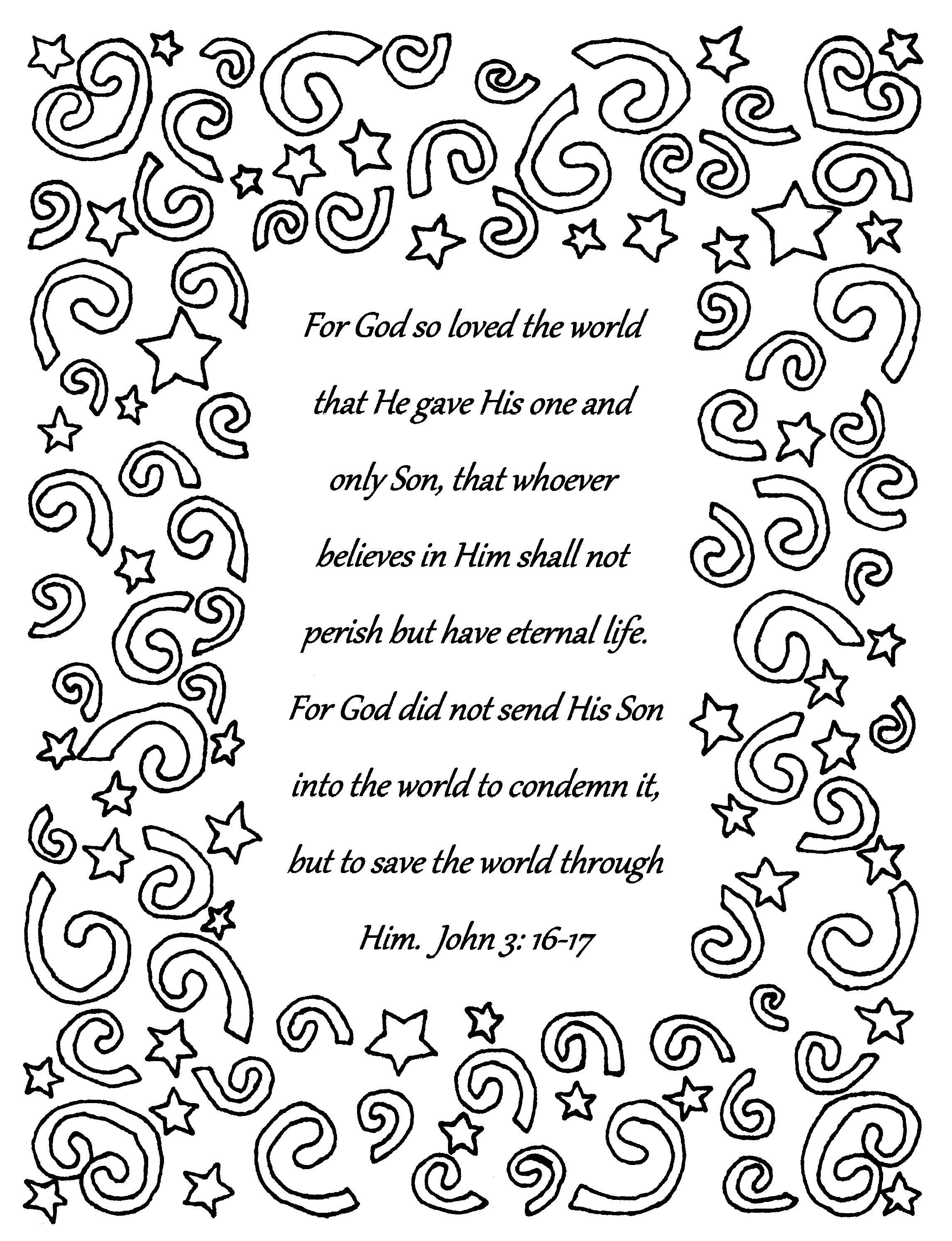 For God So Loved The World John 3 16 17 Bible Verse Coloring