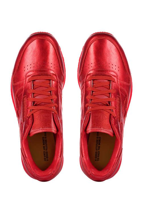 Rouge Baskets Face Reebok Femme Fashion Classic Chaussures Leather wqrqdxXtF
