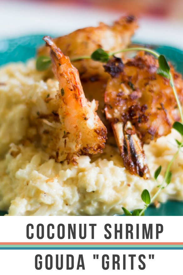 coconut shrimp and gouda grits