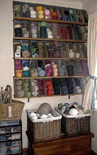 Rangement pelotes de laine atelier organisation for Rangement boutons couture