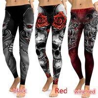 08ce7b39dbf Plus Size Punk Style Womens Skull Leggings High Elastic Gym Fashion ...