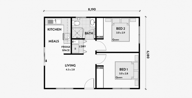 Geranium 2br 50m2 Floor Plans Small House Plans Granny Flat Plans