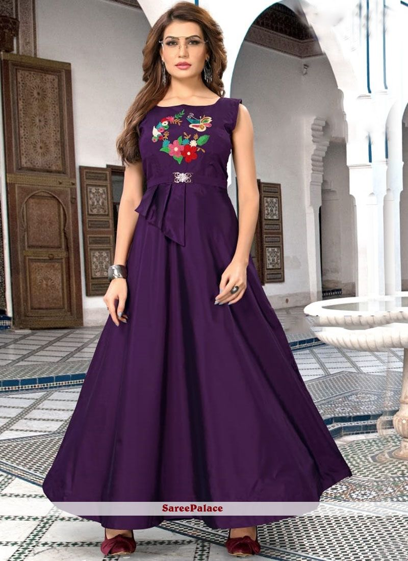 c29b9feba9 Purple Embroidered Readymade Gown in 2019 | Designer Gowns | Silk ...