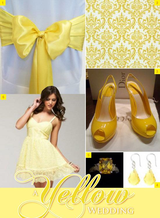 Yellow Wedding Chair Bow Sash, Wedding Dress, Shoes, and Wall Decorations