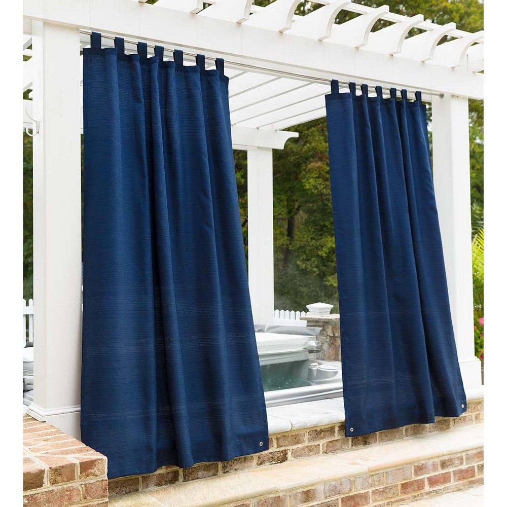 Outdoor Woven Grasscloth Single Curtain Panel With Grommet Top