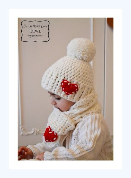 Crochet Pattern - Pom Pom Winter Hat / Scarf Set with red Heart ...