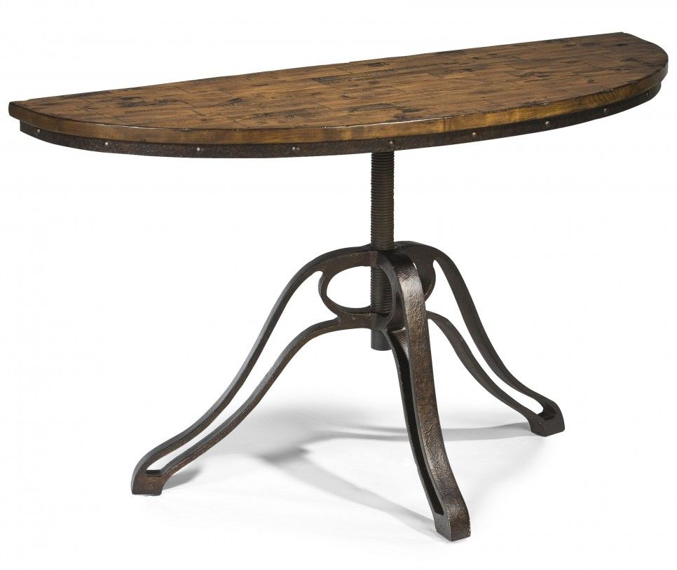 Furniture Small Demilune Hall Console Table With Reclaimed Wood Top