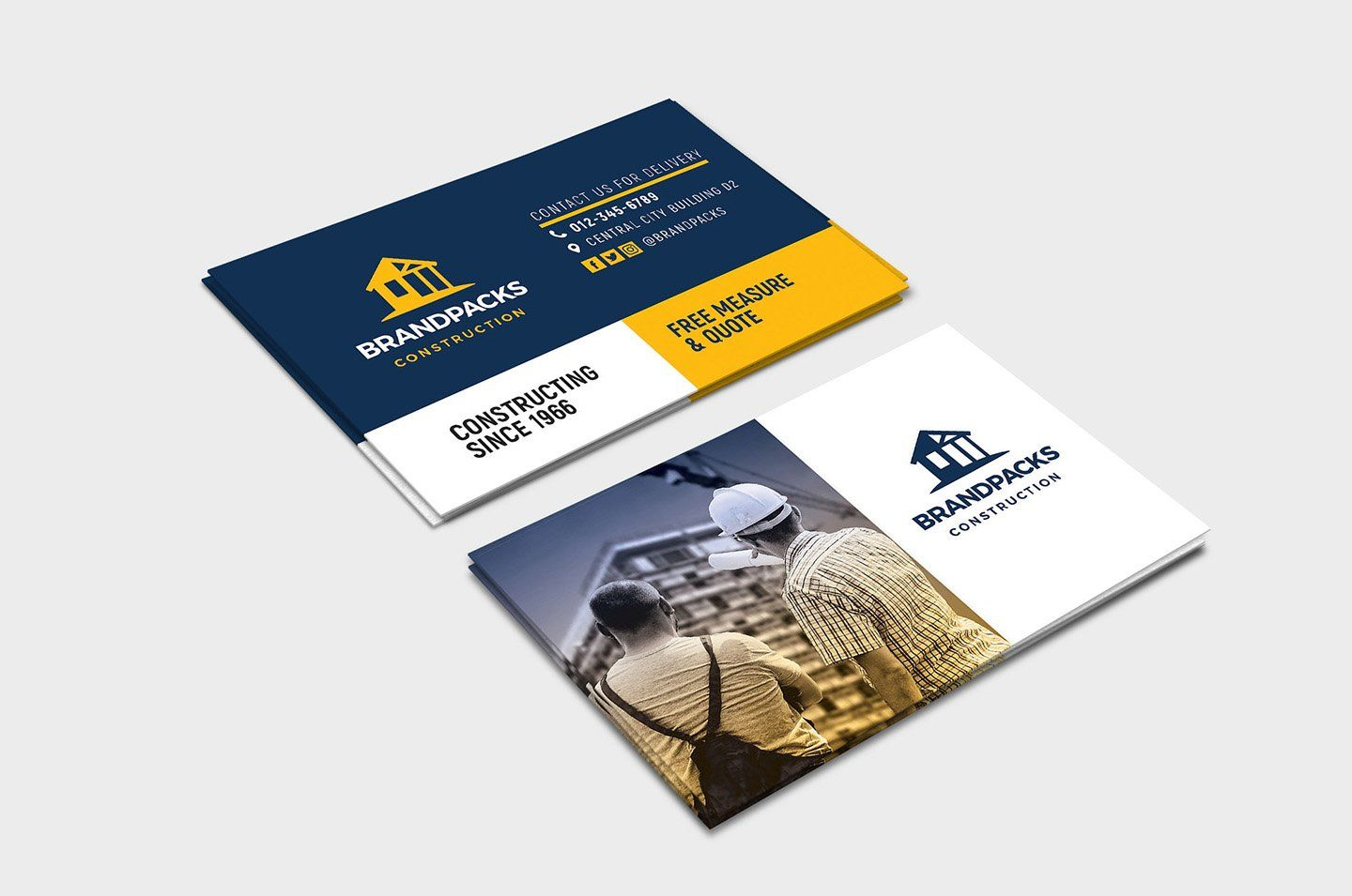 Construction Business Card Template Construction Business Cards Company Business Cards Business Card Templates Download