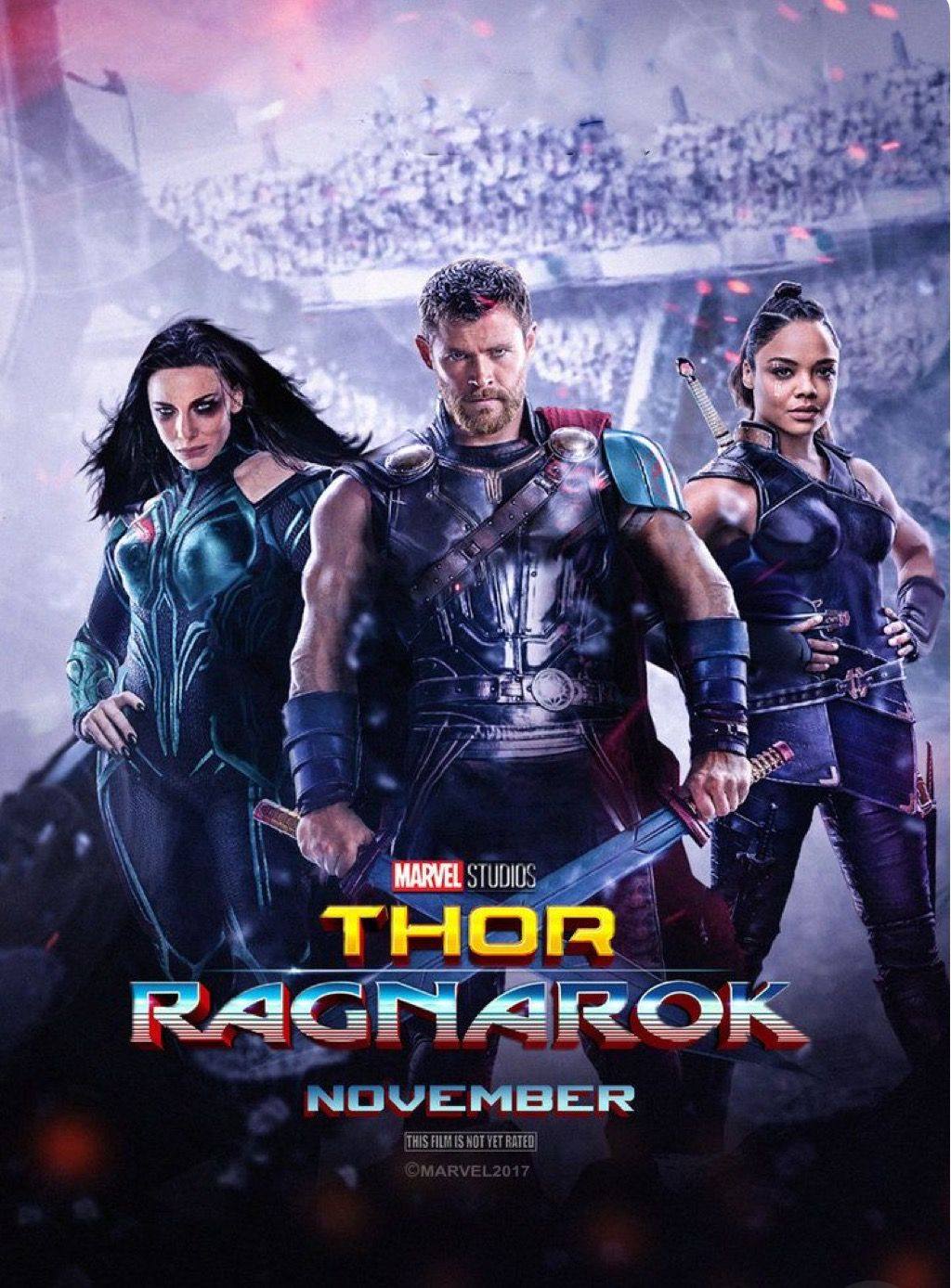 Thor Ragnarok Movie Poster Showing Valkyrie And Hela Check Out 21 Easter Eggs Missed Details