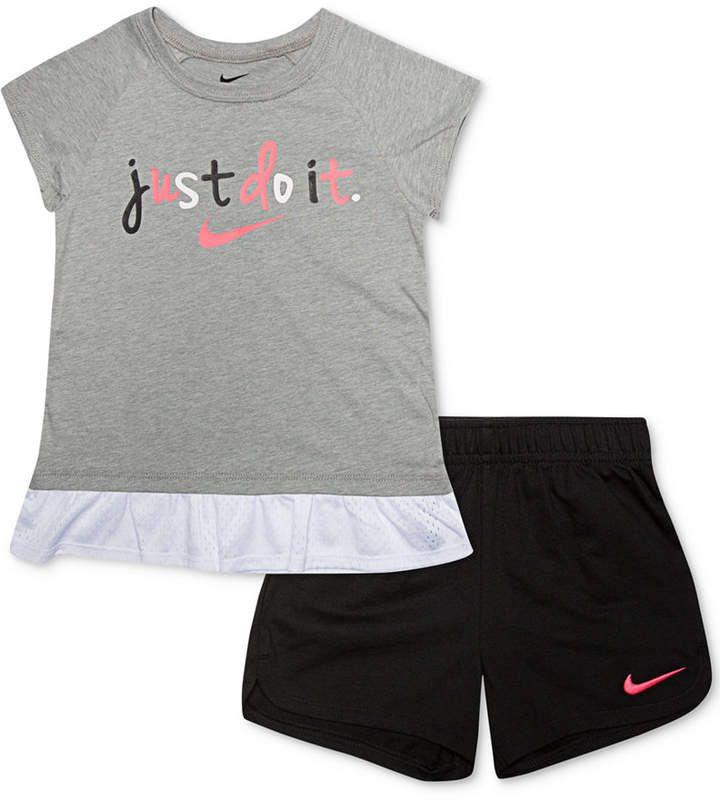 Nike Toddler /& Little Boys Gray Just Do It 2 Piece Shorts /& T-Shirt Set