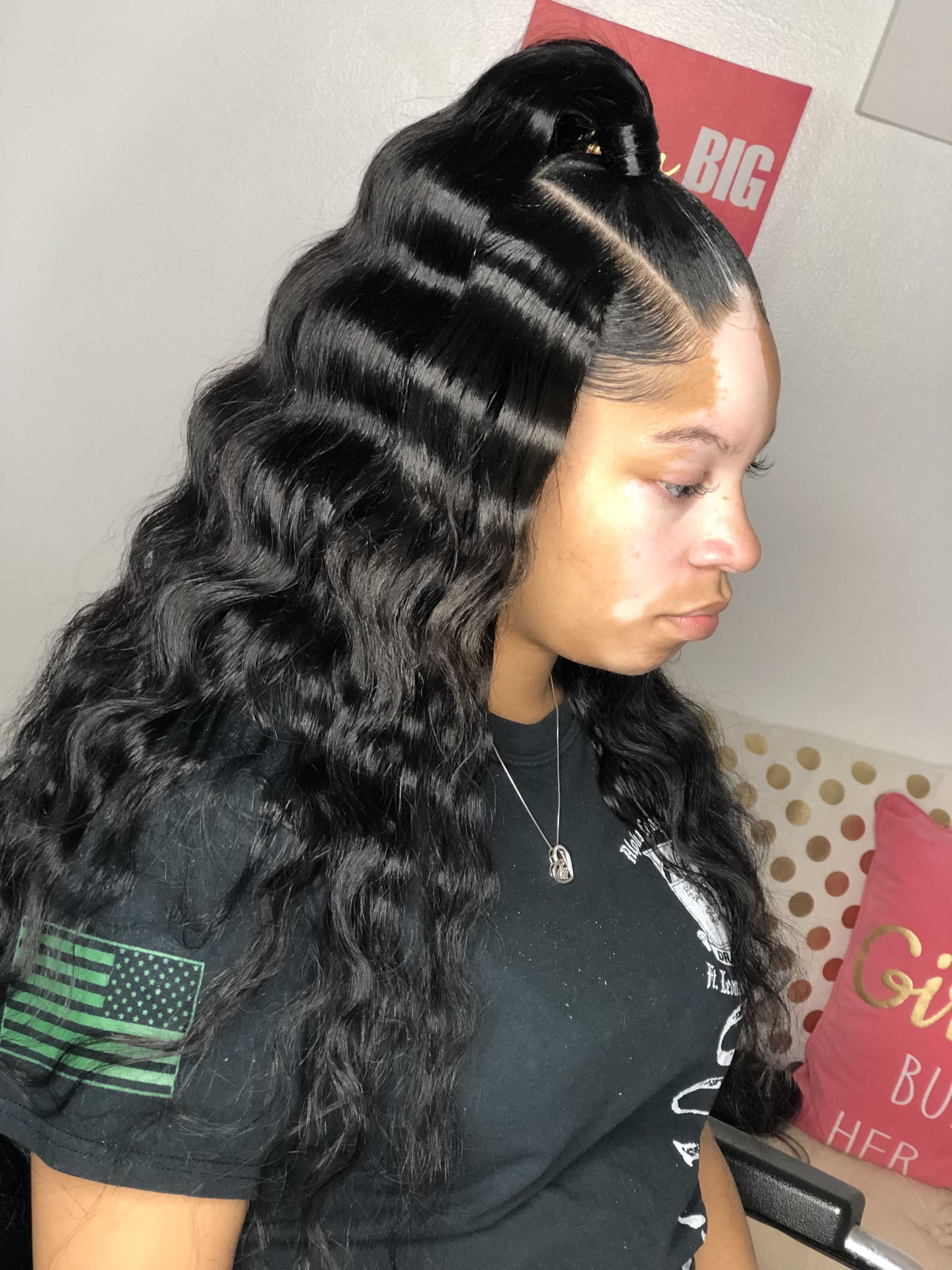 Half Up Half Down With Crimps Black Women Hair Ponytail Styles Quick Weave Hairstyles Crimped Hair