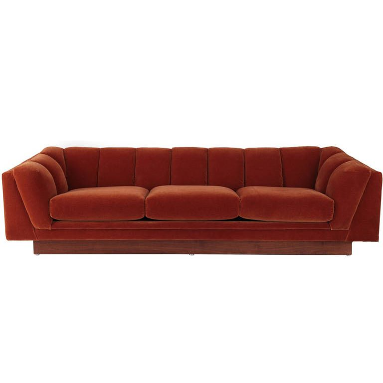 Elegant Mohair And Walnut Plinth Sofa From A Unique Collection Of Antique Modern Sofas
