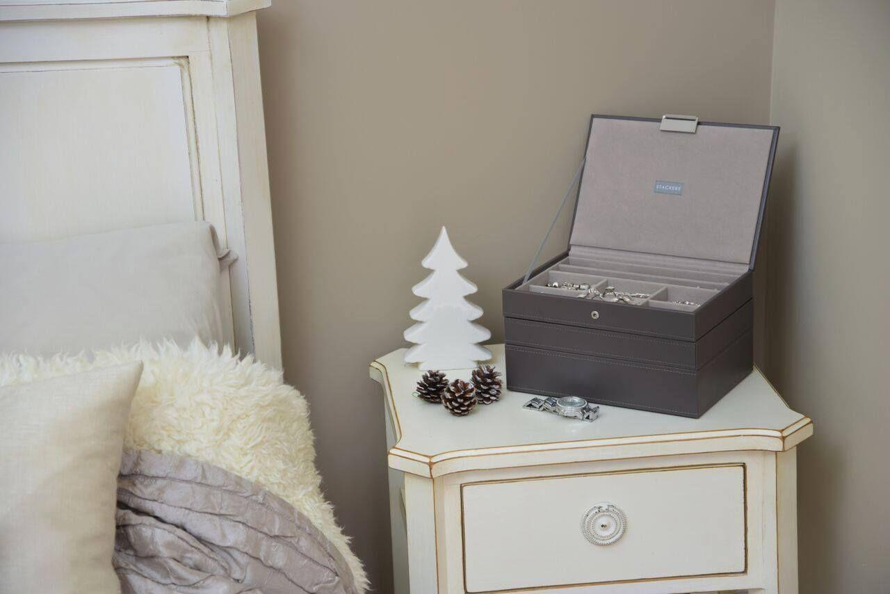 Stackers Jewellery Box Mink grey velvet stackable storage for