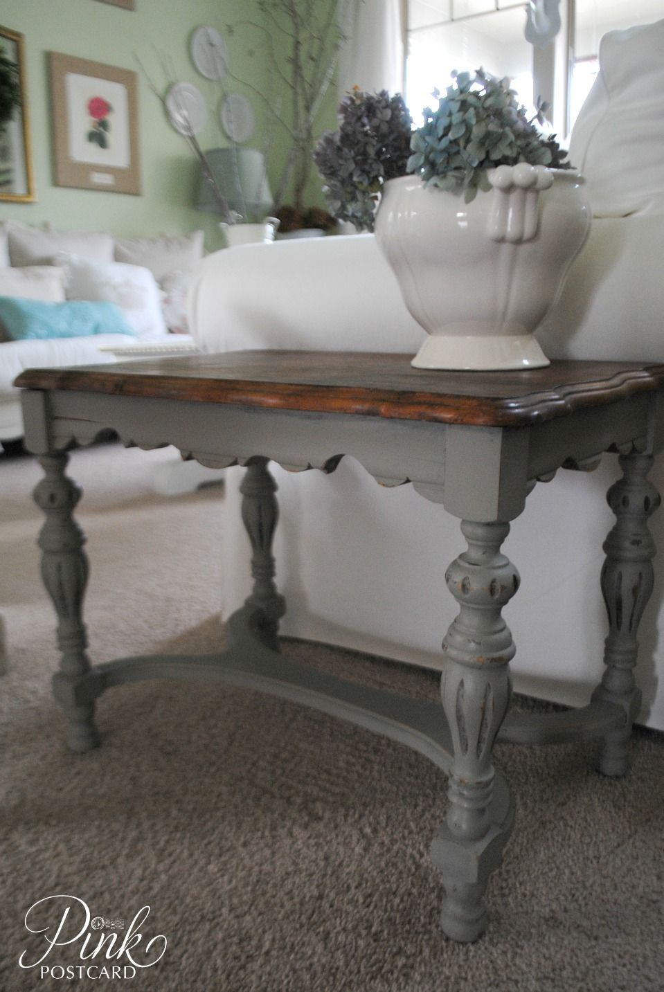 Curvy French Linen Side Table