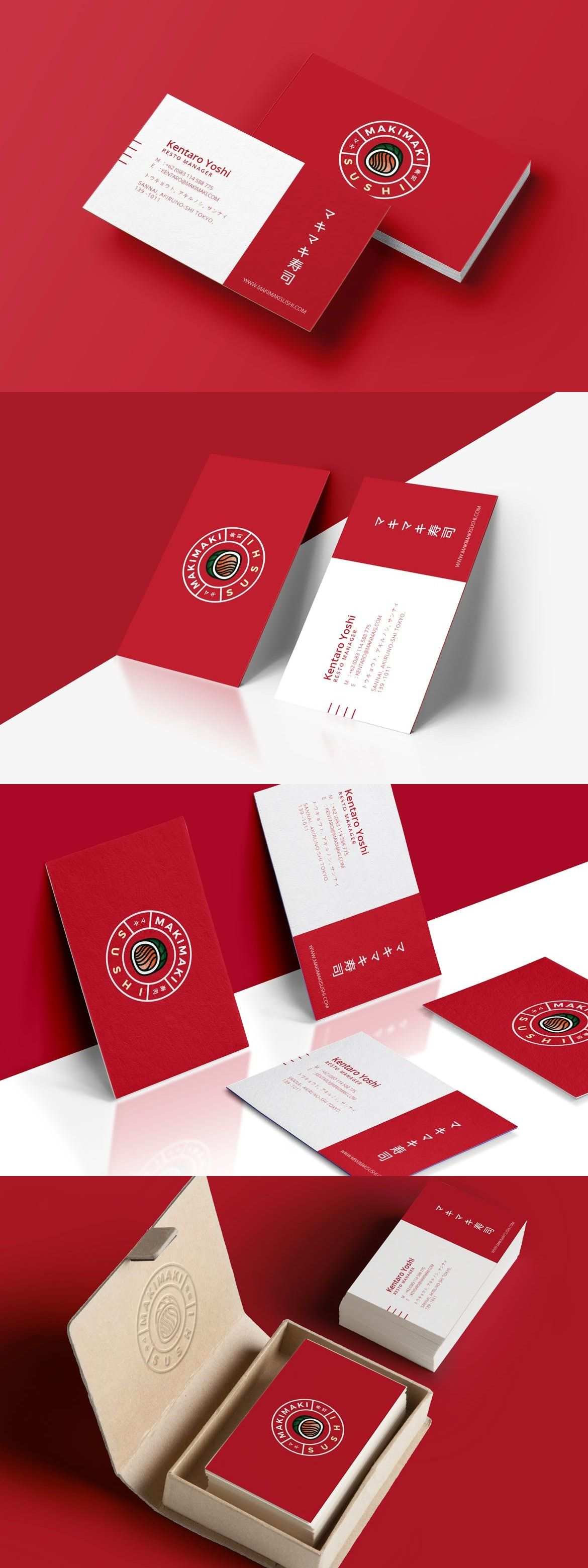 Sushi Business Card Adobe InDesign Illustrator Identity Food O Download Unlimited Items On Envato Elements