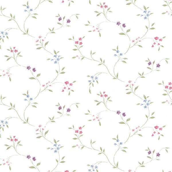 "Floral Prints II 32.7' x 20.5"" Small Floral Trail Wallpaper"