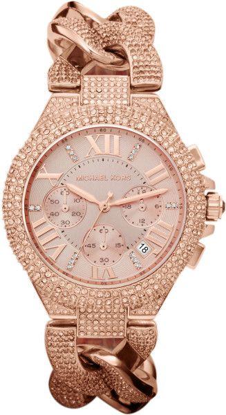 1c1b97b98656 Michael Kors Pink Midsize Rose Golden Stainless Steel Camille Chronograph  Glitz Link Watch
