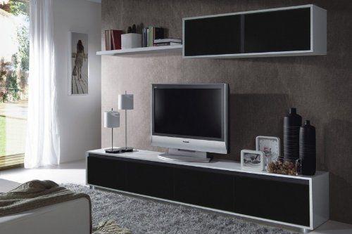 Habitdesign - Mueble de comedor moderno TV, color blanco y negro ...