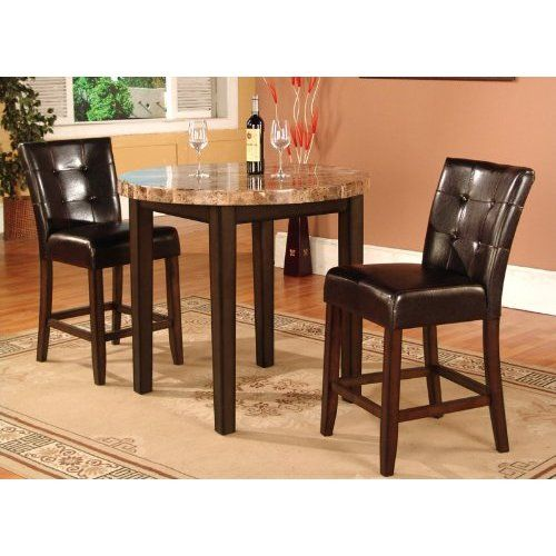 3 Pcs Modern Counter Height Dining Set Table And 2 Chairs: 3 Pc Faux Marble Top Counter Height Bar Set , Table With 2