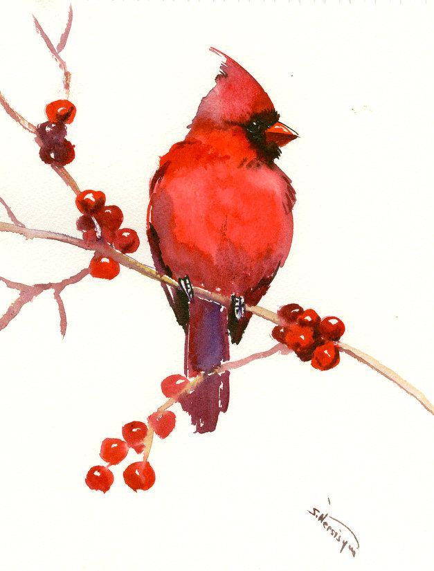 Red Cardinal Bird Art Red Christmas Wall Art Original Watercolor