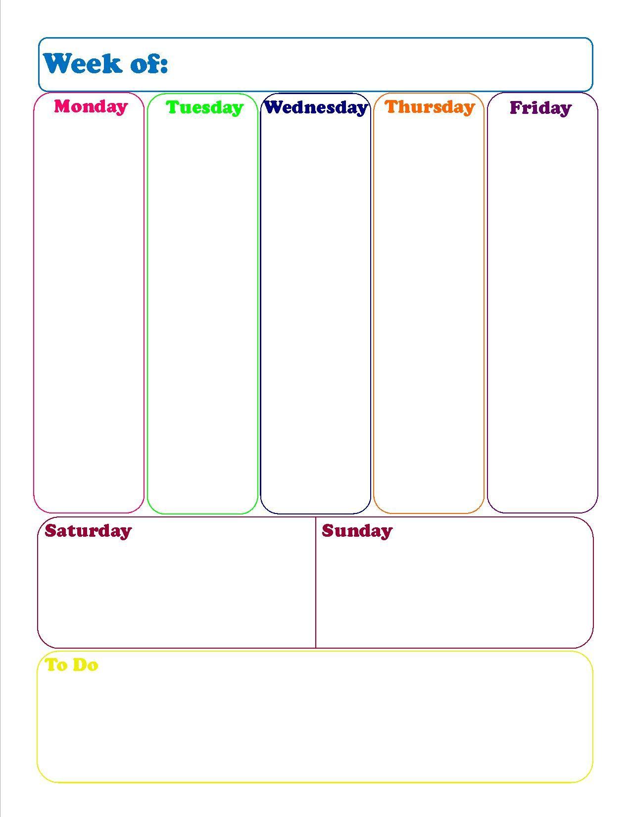 WeeklyCalendarJpg  Pixels  Printables