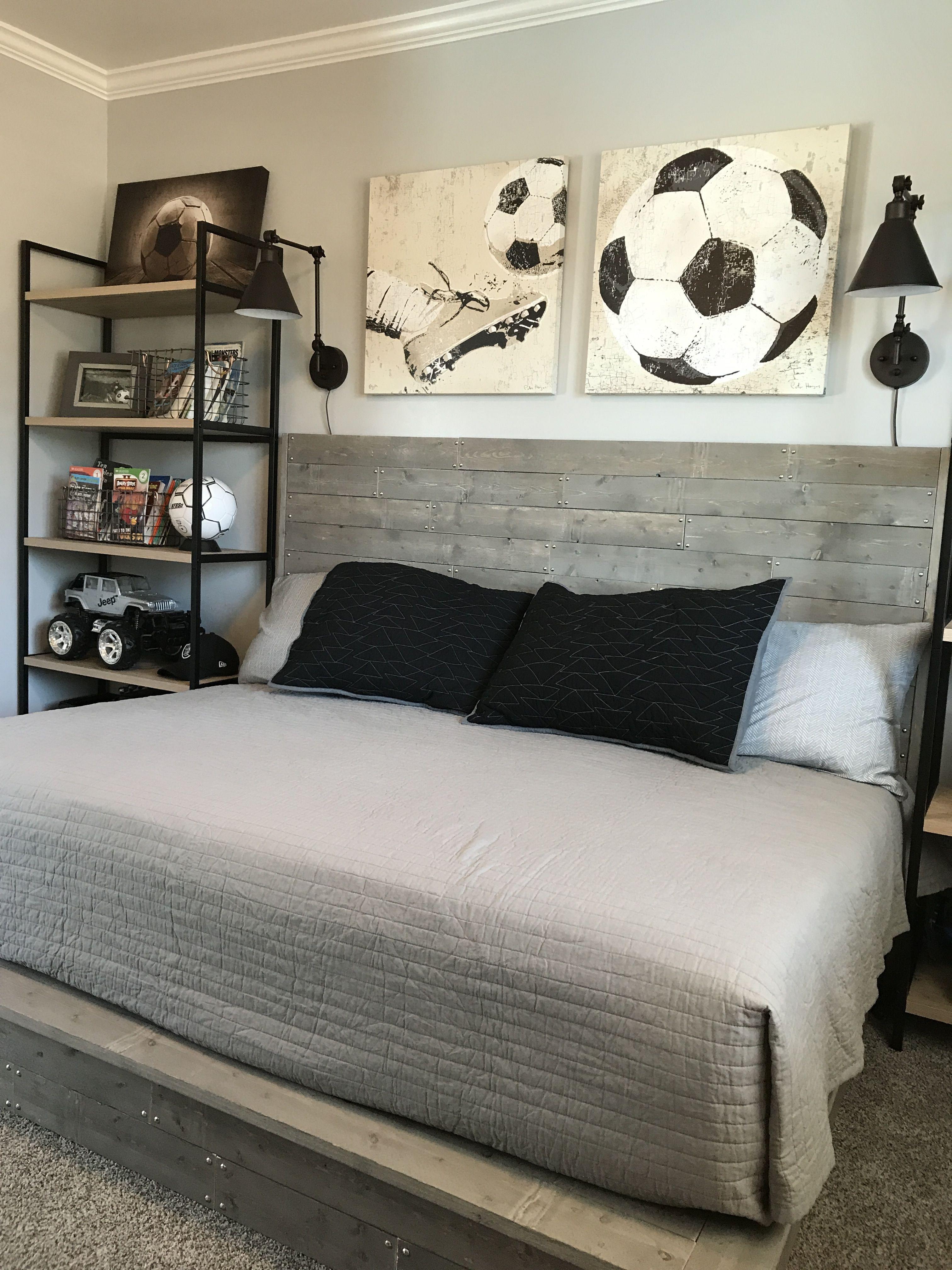 Industrial style boy soccer themed bedroom. DIY handmade ...