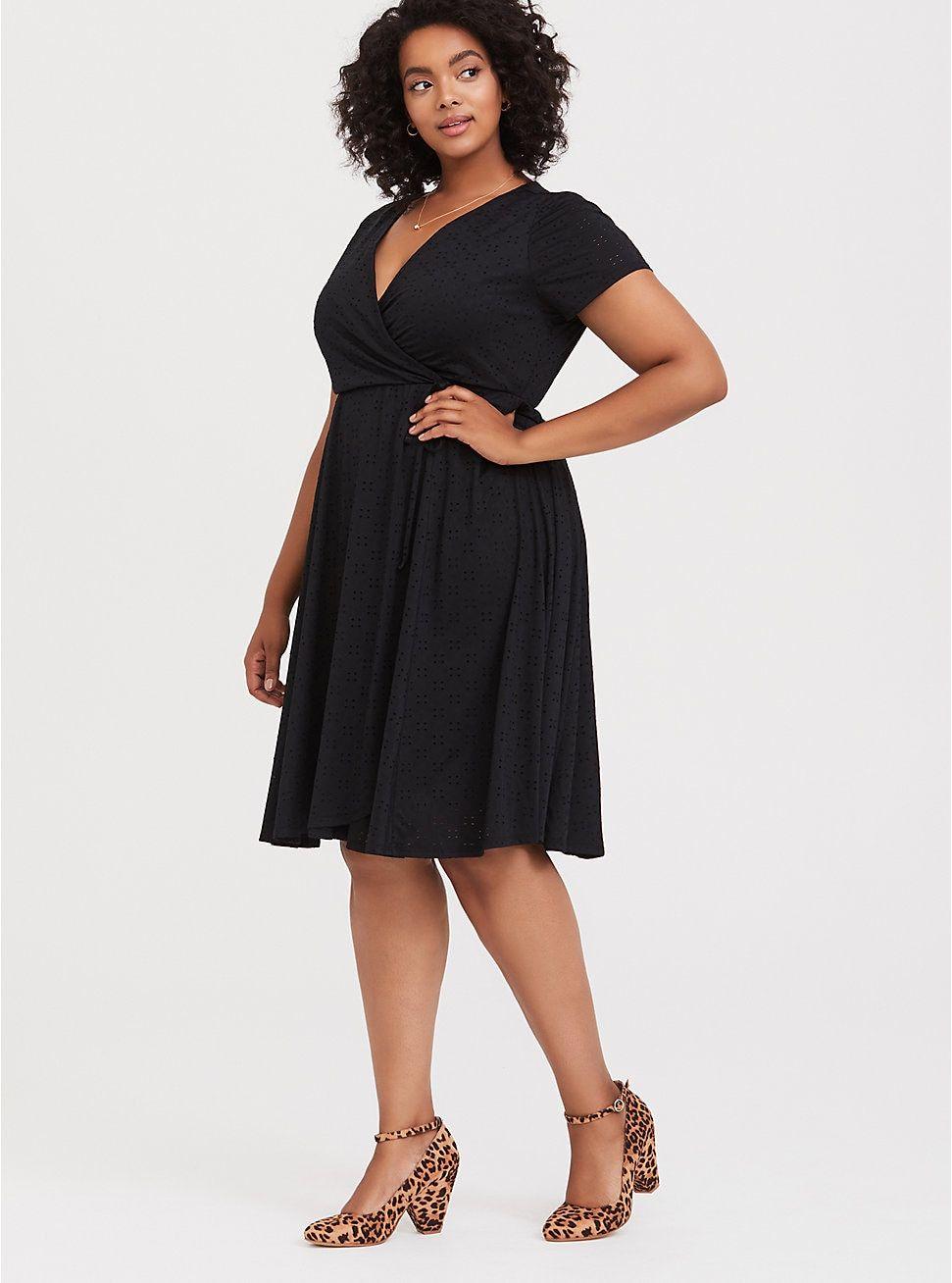 Black jersey eyelet wrap dress dresses jersey knit midi