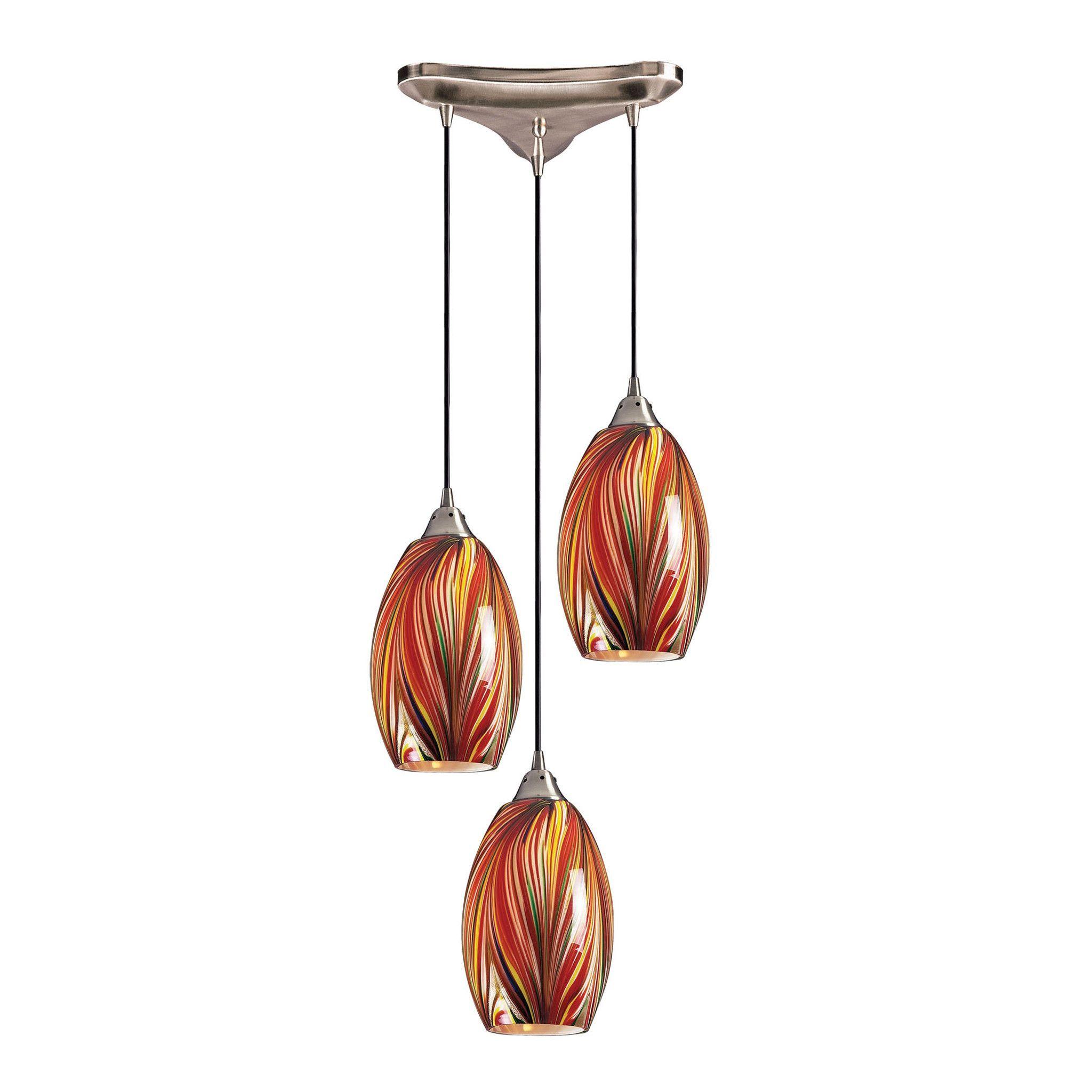 Mulinello 3 Light Pendant In Satin Nickel And Multicolor Glass.