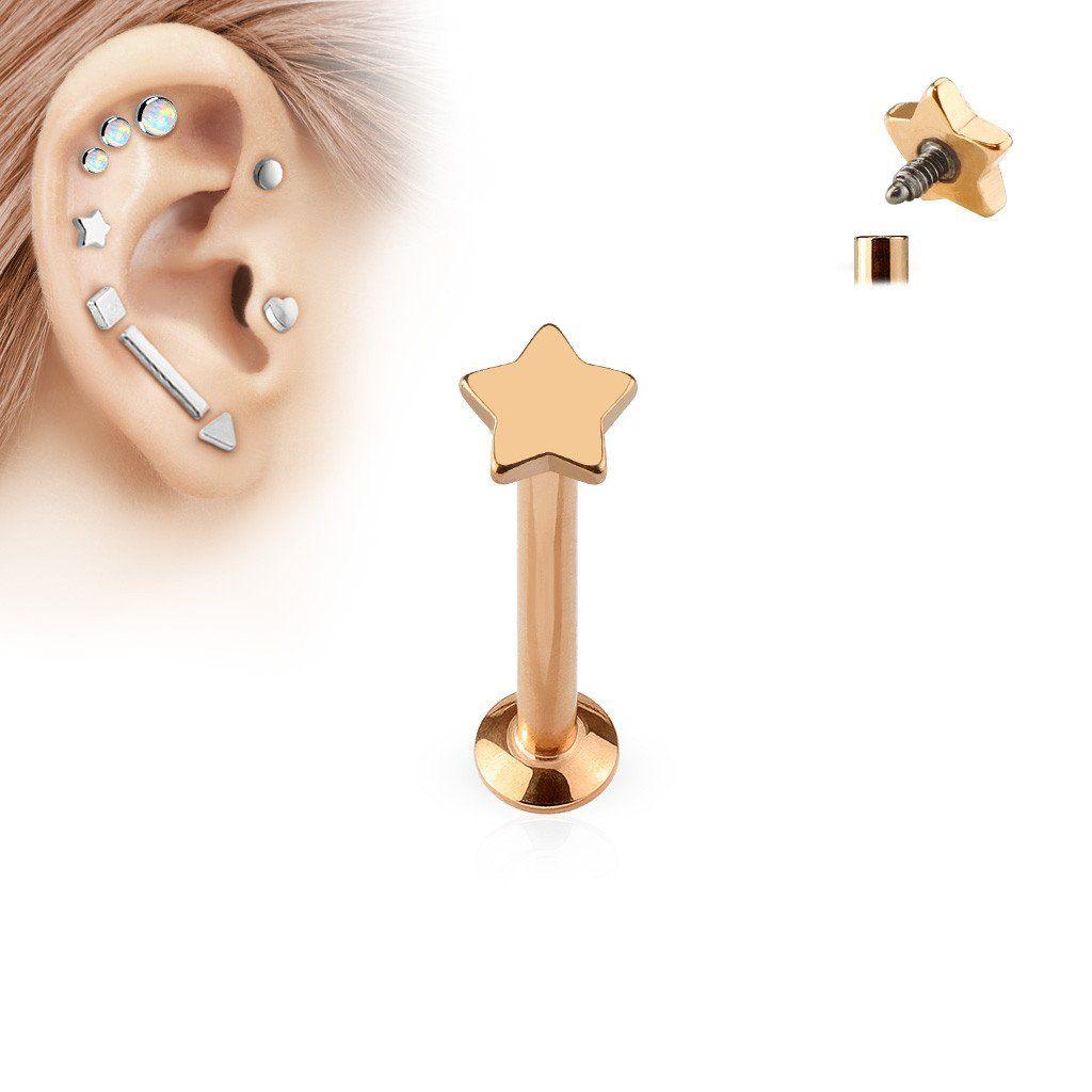 Titanium Anodized Spike Labret Lip Bar Ring Monroe Body Piercing Jewellery