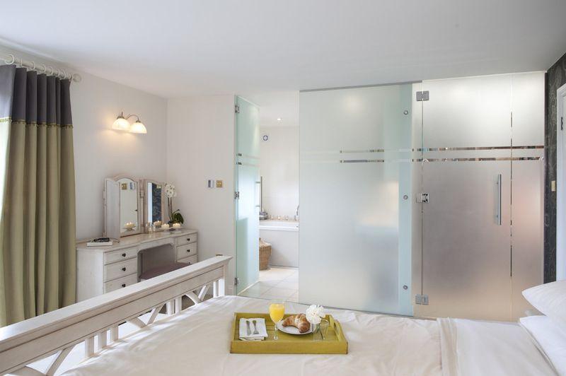 opaque glass doors between bedroom and closet Master Bedroom