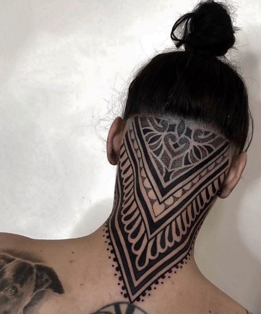 Ornamental Back Head And Neck Tattoo Neck Tattoo Back Of Neck Tattoo Best Neck Tattoos