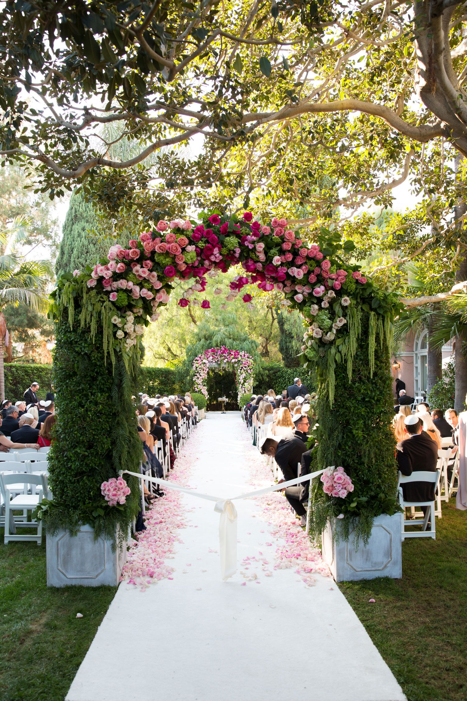 Outdoor Ceremony + Ballroom Reception with Pink Flowers ...