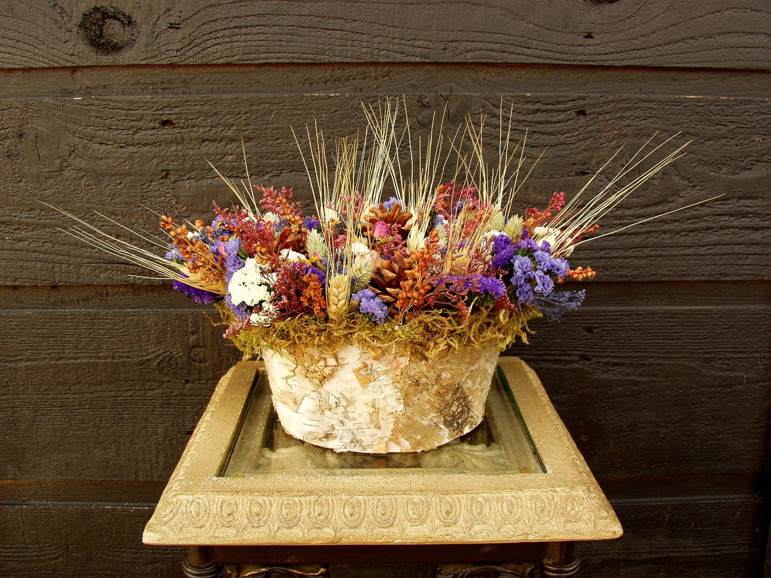 Large Rustic Woodland Country Birch Bark Colorful Dried Flower Arrangement With Pinecones And Wheat Dried Flowers Dried Flower Arrangements Rustic Arrangements