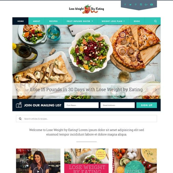 New WordPress Theme for LoseWeightbyEating.com by D1 Dezign
