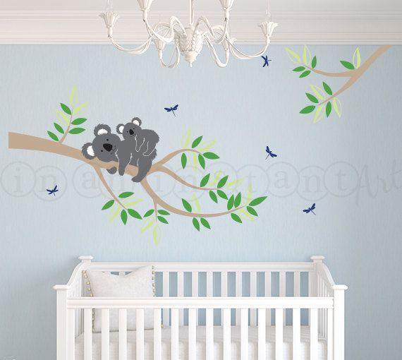 Branch with mother and baby koala bear decal koala bear wall decal for nursery kids or - Stickers koala chambre bebe ...