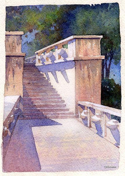 Steps- Prague -Thomas W. Schaller Looks a little like John Singer Sargent's watercolors