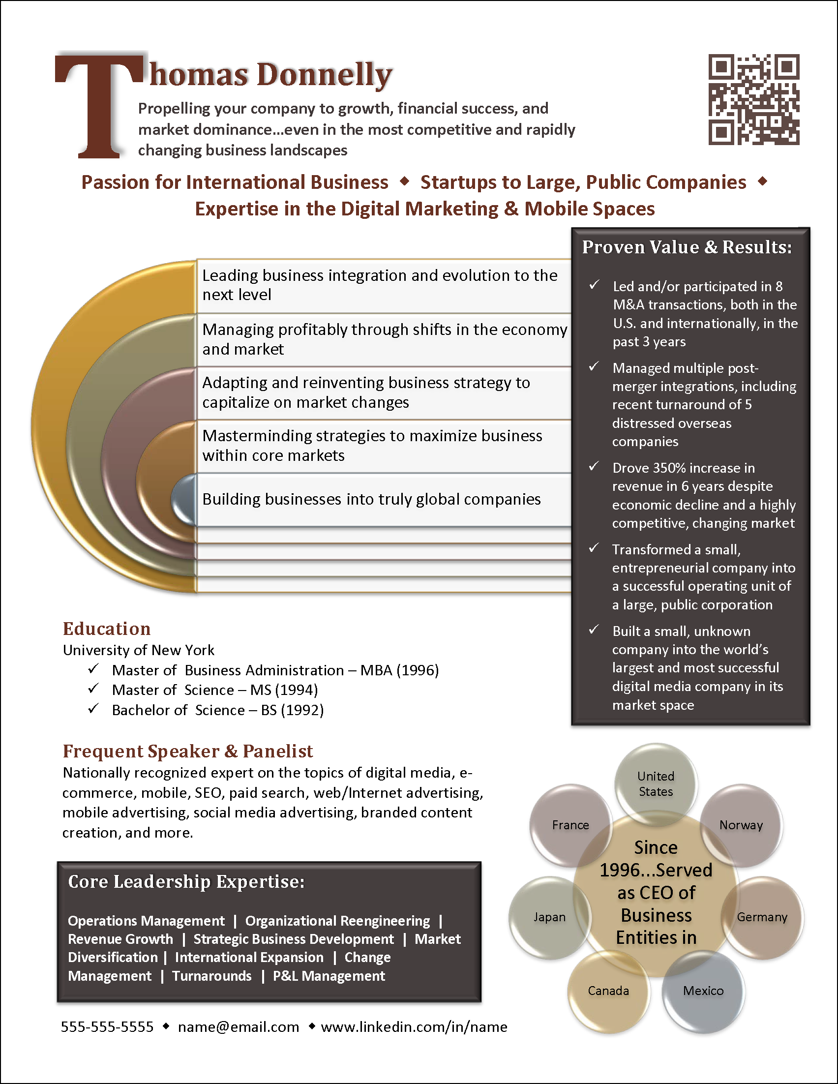 infographic resume example for an international manager