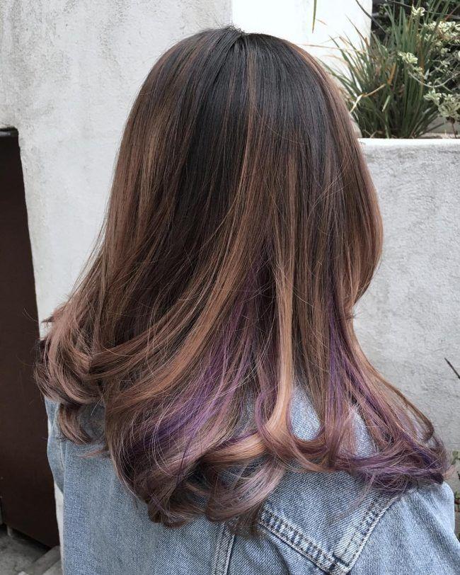 60 Stunning Dark And Light Brown Hair With Highlights Ideas Underlights Hair Purple Brown Hair Peekaboo Hair