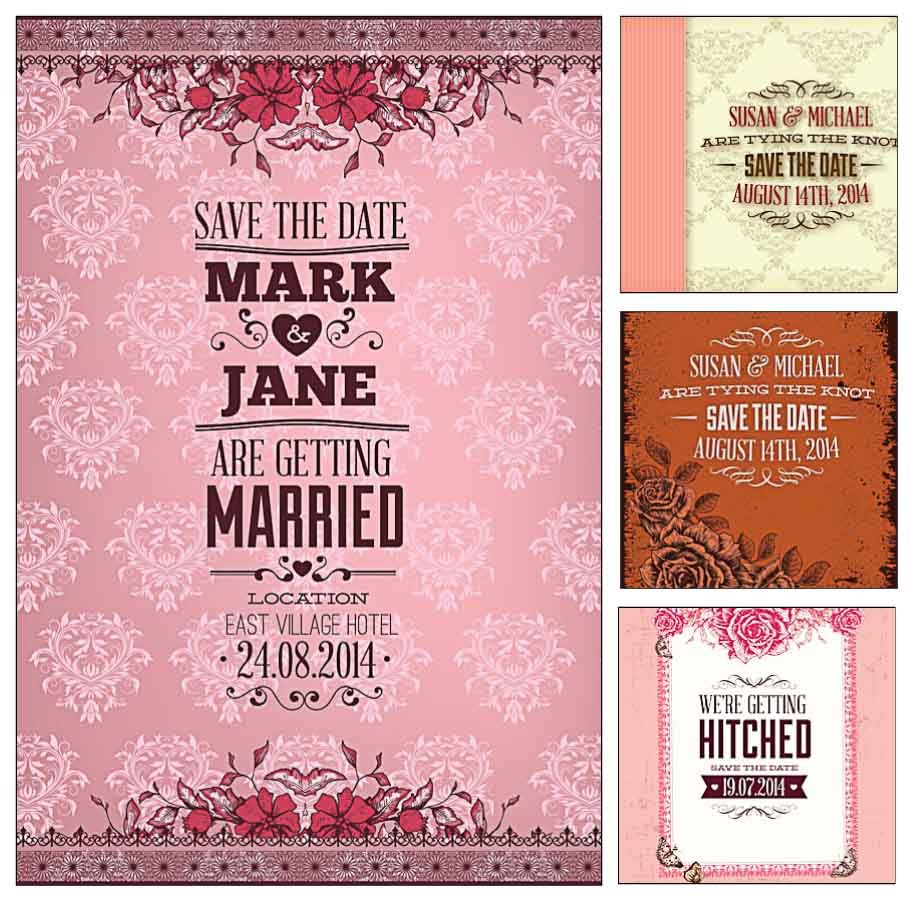 Pink wedding invitation cards vector | Pink wedding invitations ...